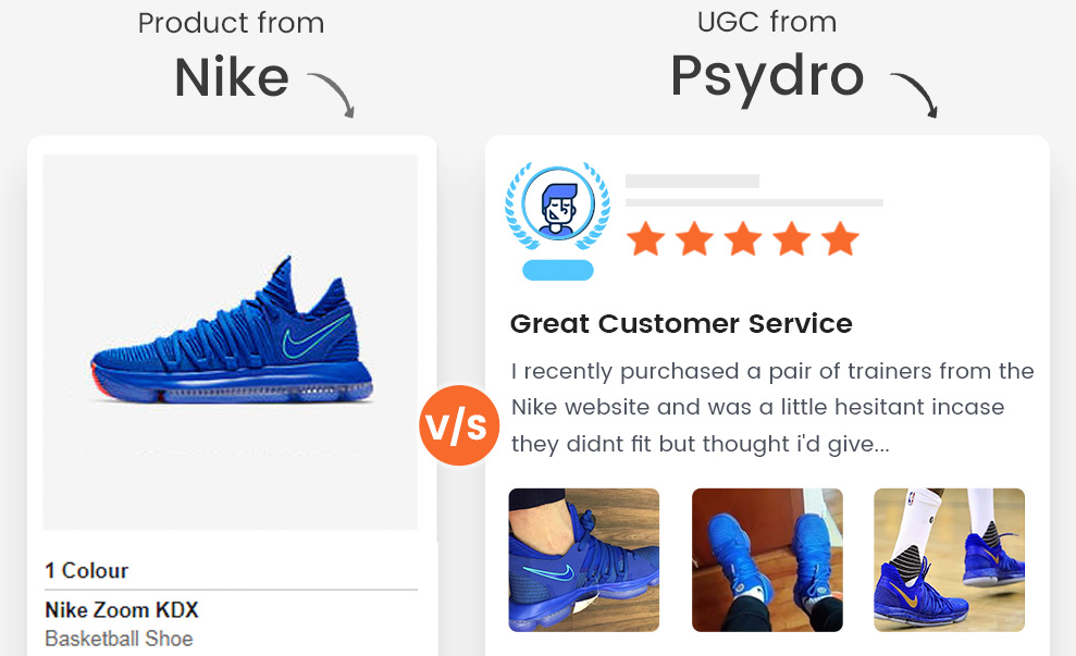 A user-generated content of Nike shoe shows how Psydro can improve online reputation.