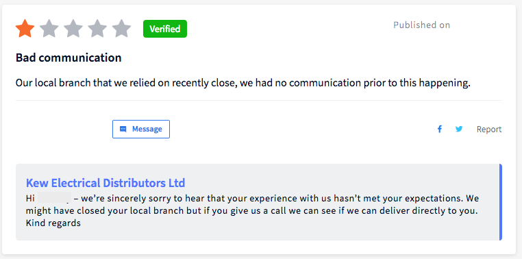 Example of how not to respond to negative reviews by Kew Electrical