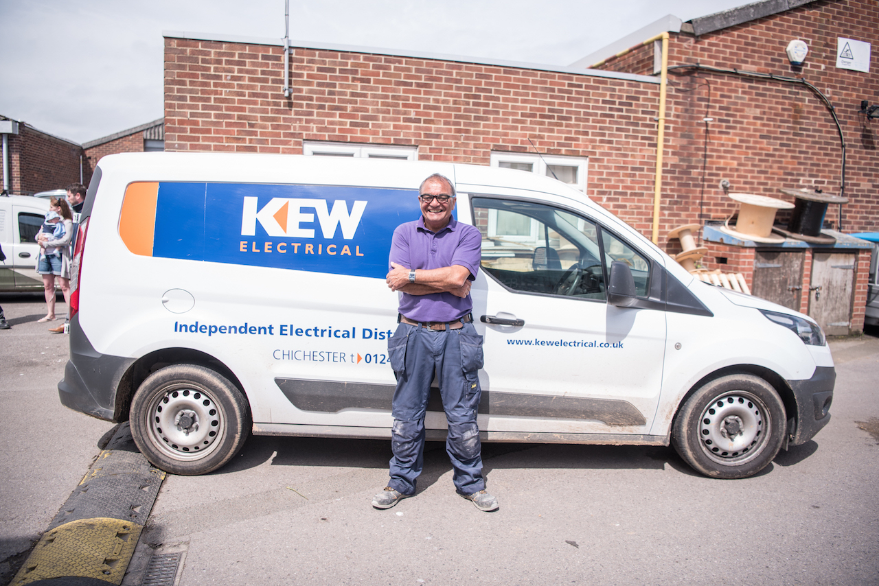 A case study Kew Electrical a Psydro verified business employee ready to roll for work.