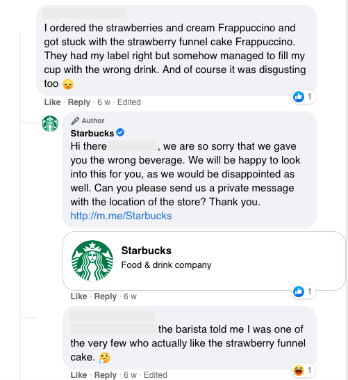 This is how Starbucks response to one of their negative reviews
